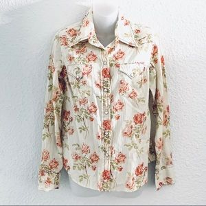 Lucky Brand Western Roses Floral Button Up Top M